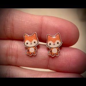 Cute Acrylic Fox Earrings w/Surgical Steel Posts